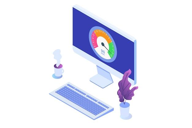 Concepto de prueba de velocidad de descarga de internet