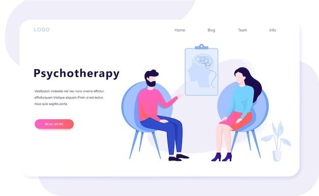 Concepto de psicoterapia. hombre triste sentado en la silla hablando con psicóloga. visita a psiquiatra y tratamiento de depresión. ilustración