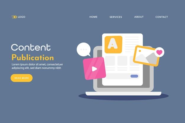 Concepto de publicación de contenido