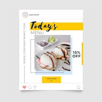 Concepto de publicación de instagram de alimentos