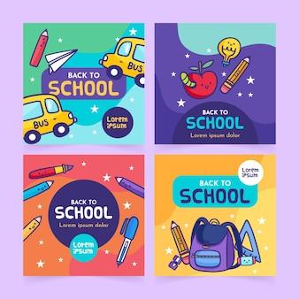 Concepto de publicaciones de instagram de regreso a la escuela