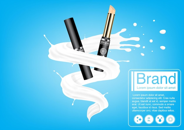 Concepto de publicidad cosmética. maqueta de corrector de lujo en salpicaduras de leche. plantilla de diseño publicitario