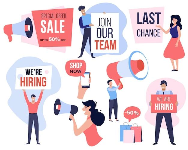 Concepto de publicidad establece personas usando megáfono para campaña de promoción