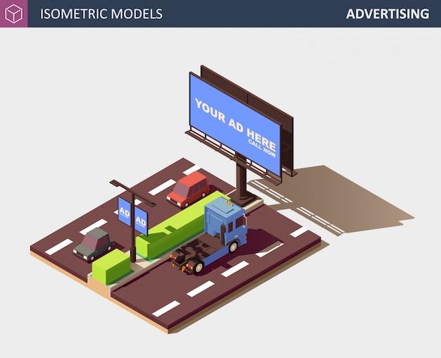Concepto de publicidad exterior con cartelera. ilustración isométrica