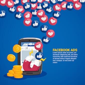 Concepto de publicidad en facebook con imán y emoticonos.