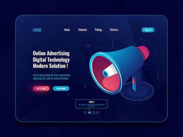 Concepto de publicidad en línea inteligente, icono isométrico de megáfono de altavoz, promoción de las redes sociales en la oscuridad