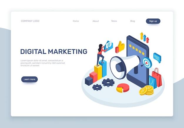 Concepto de publicidad en redes sociales de marketing digital isométrico con gráficos de teléfonos inteligentes de altavoz