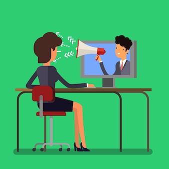 Concepto de publicidad y spam web con empresaria de dibujos animados y megáfono. diseño plano, ilustración vectorial.