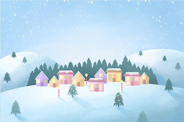 Concepto de pueblo navideño en acuarela