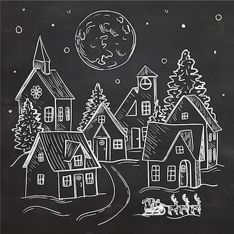 Concepto de pueblo navideño dibujado a mano