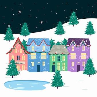 Concepto de pueblo navideño en diseño plano