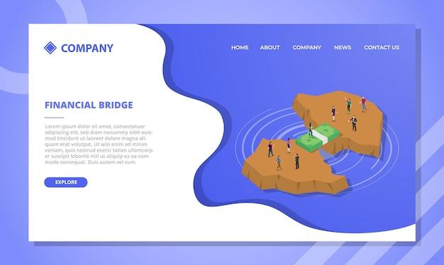 Concepto de puente financiero para plantilla de sitio web o página de inicio de aterrizaje con vector de estilo isométrico
