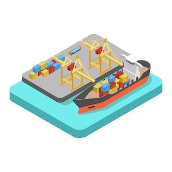 Concepto de puerto de muelle de puerto de transporte de carga náutica isométrica plana