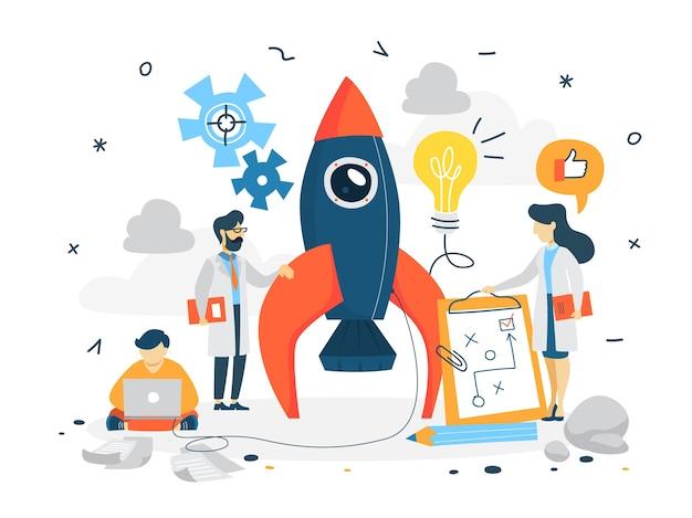 Concepto de puesta en marcha. desarrollo de negocios. prueba y idea de marketing. pensamiento creativo. conjunto de iconos comerciales, financieros y de promoción. piso aislado