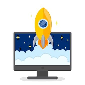 Concepto de puesta en marcha. desarrollo de negocios. prueba y idea de marketing. pensamiento creativo. ilustración