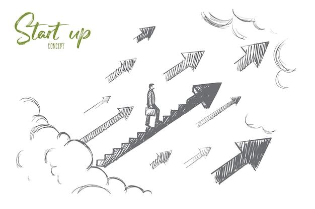 Concepto de puesta en marcha. empresario dibujado a mano comienza a subir la escalera de crecimiento. ejemplo aislado negocio exitoso.