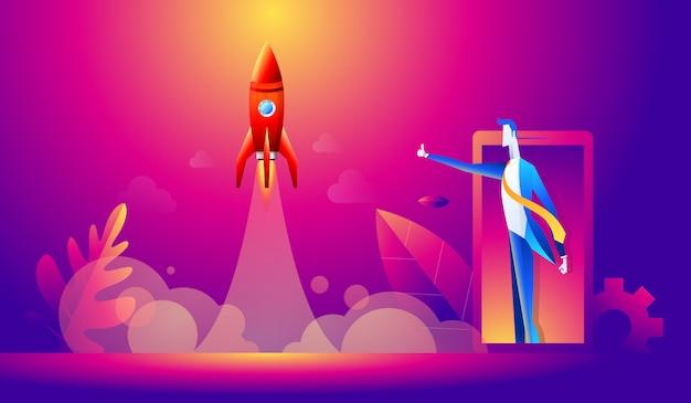 Concepto de puesta en marcha. gente de negocios feliz de dibujos animados pulgar hacia arriba para el lanzamiento del cohete. diseño plano, ilustración