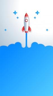 Concepto de puesta en marcha de negocios cohete espacial despegar plantilla de historia vertical.