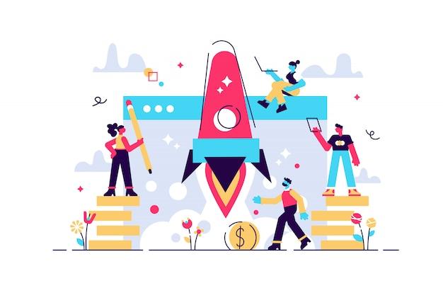 Concepto de puesta en marcha de un nuevo negocio para página web, banner, presentación, redes sociales, inicio de proyecto empresarial. ilustración de empresa emergente joven, lanzamiento de cohete al espacio, pensando