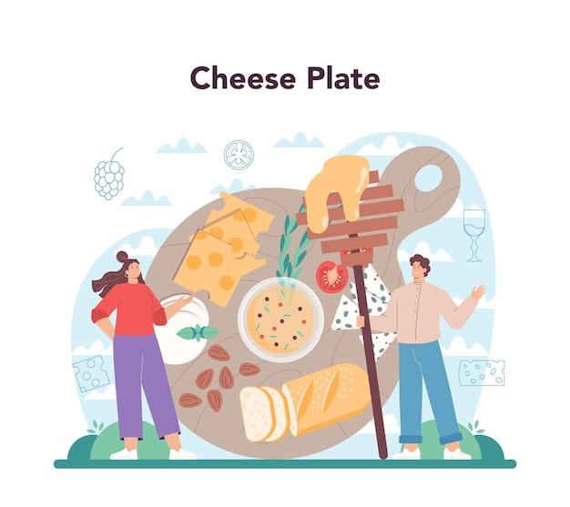 Concepto de quesero chef profesional haciendo bloque de queso
