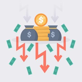 Concepto de quiebra de diseño plano con caída de dinero