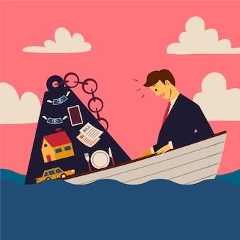 Concepto de quiebra con hombre y barco