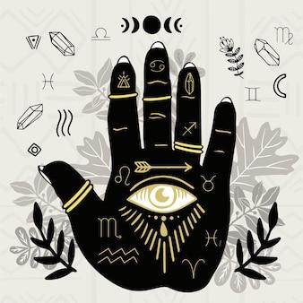 Concepto de quiromancia con símbolo de ojo