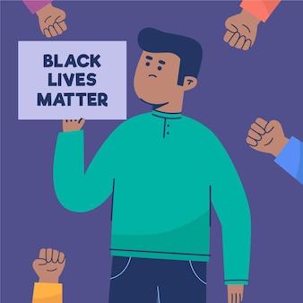 Concepto de racismo con cartel y mensaje