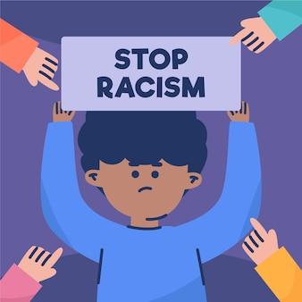 Concepto de racismo con cartel