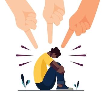Concepto de racismo con las manos apuntando a la persona