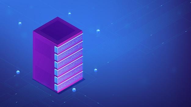 Concepto de rack de servidor isométrico.