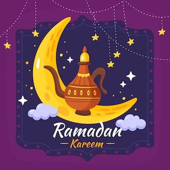 Concepto de ramadán dibujado a mano