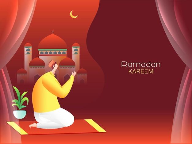 Concepto de ramadán kareem con hombre musulmán ofreciendo namaz (oración)