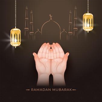Concepto de ramadán mubarak con manos musulmanas rezando