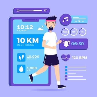 Concepto de rastreador de fitness de diseño plano