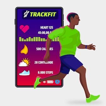 Concepto de rastreadores de fitness planos