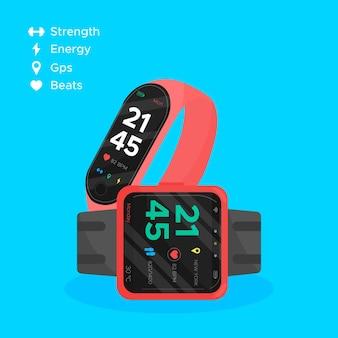 Concepto de rastreadores de fitness