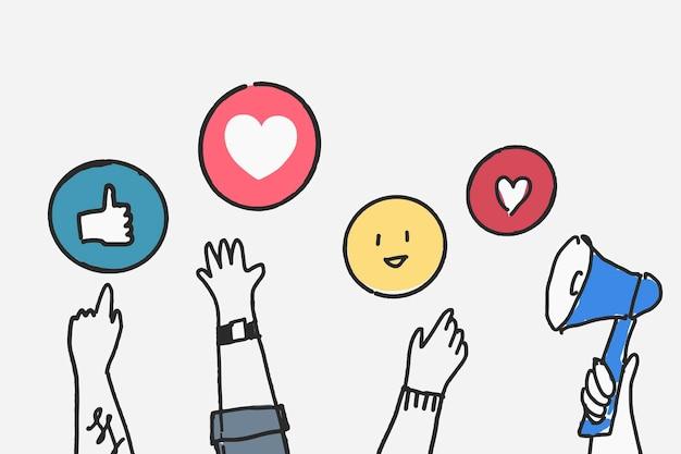 Concepto de reacción de redes sociales de vector doodle