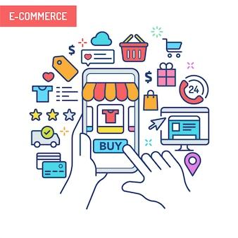 Concepto de realidad aumentada - comercio electrónico