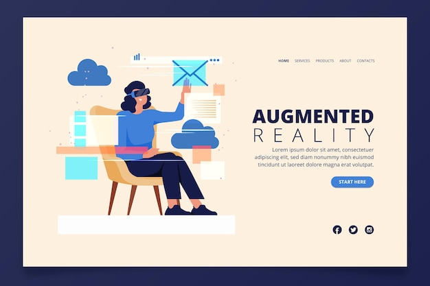 Concepto de realidad aumentada - página de destino