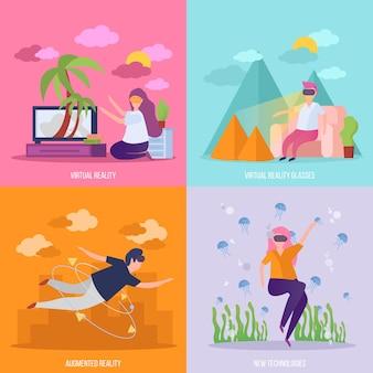 Concepto de realidad virtual 4 iconos ortogonales con gafas vr viajan experiencia de vuelo y buceo aislado