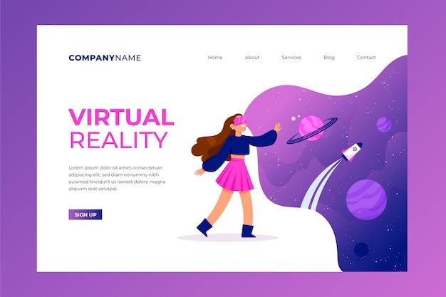 Concepto de realidad virtual - página de destino