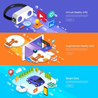 Concepto de realidad virtual, realidad aumentada y autos inteligentes. ilustrar.