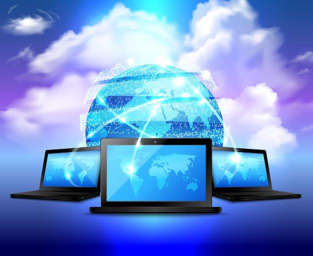 Concepto realista de almacenamiento en la nube con globo digital abstracto y tres computadoras portátiles alrededor