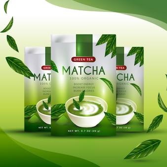 Concepto realista de anuncios de té matcha
