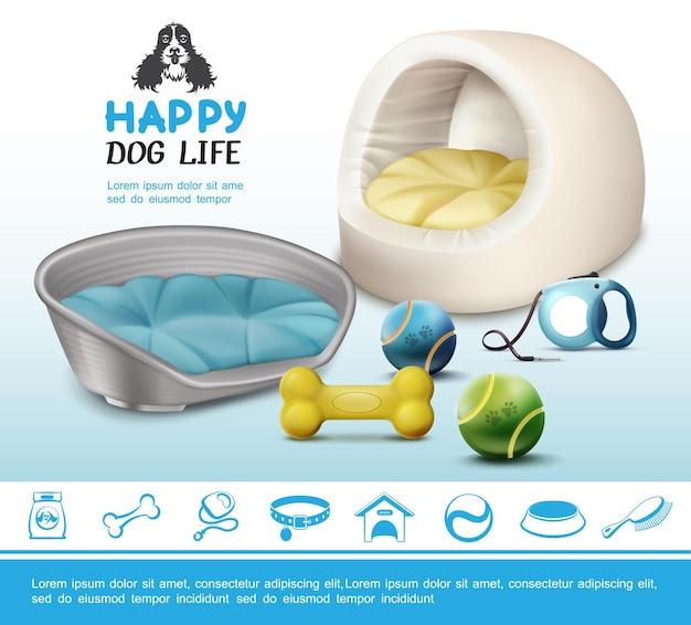 Concepto realista de artículos para perros con bolas de hueso, camas blandas con correa e iconos azules para mascotas