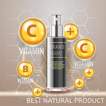 Concepto realista de botella de spray negro, poder de la vitamina. producto cosmético natural.