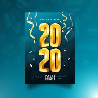 Concepto realista de cartel de año nuevo 2020