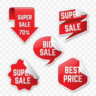 Concepto realista de colección de etiquetas de ventas colgantes