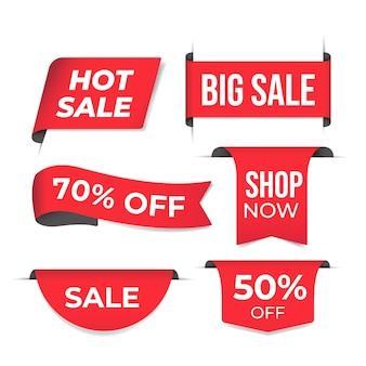 Concepto realista de colección de etiquetas de ventas